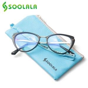 Image 2 - SOOLALA 안티 블루 라이트 고양이 눈 합금 독서 안경 여성 클리어 렌즈 안경 노안 안경 0.5 0.75 1.25 1.5 1.75 to 5.0