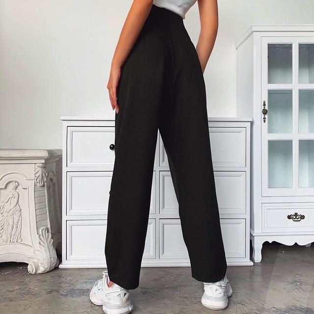 Black Casual Straight Suit Pants 3