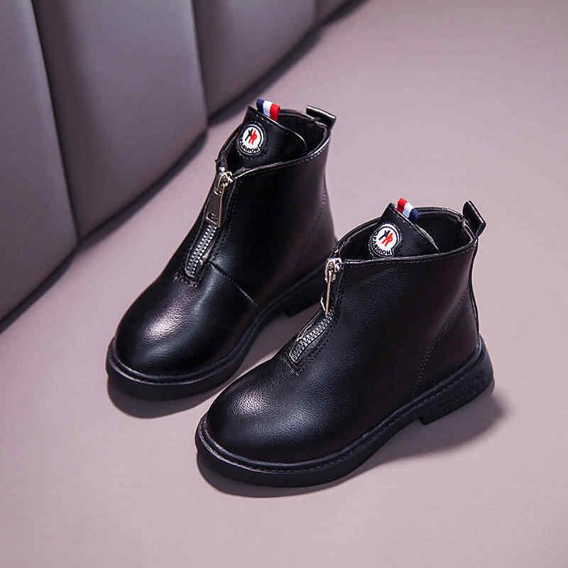 Девочки сапоги 2019 осень новая мода дикая принцесса обувь дети зимние ботинки снега студентов кожаные непромокаемые ботинки Мартина нескользящей мягкой нижней детской обуви