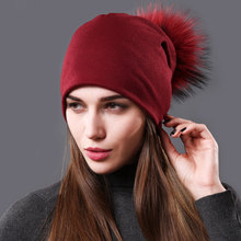 Womens Beanie Hat Autumn Raccoon Fur Pompom Slouchy Cotton Beanies for Femme Winter Skullies&Beanies with Real Balls