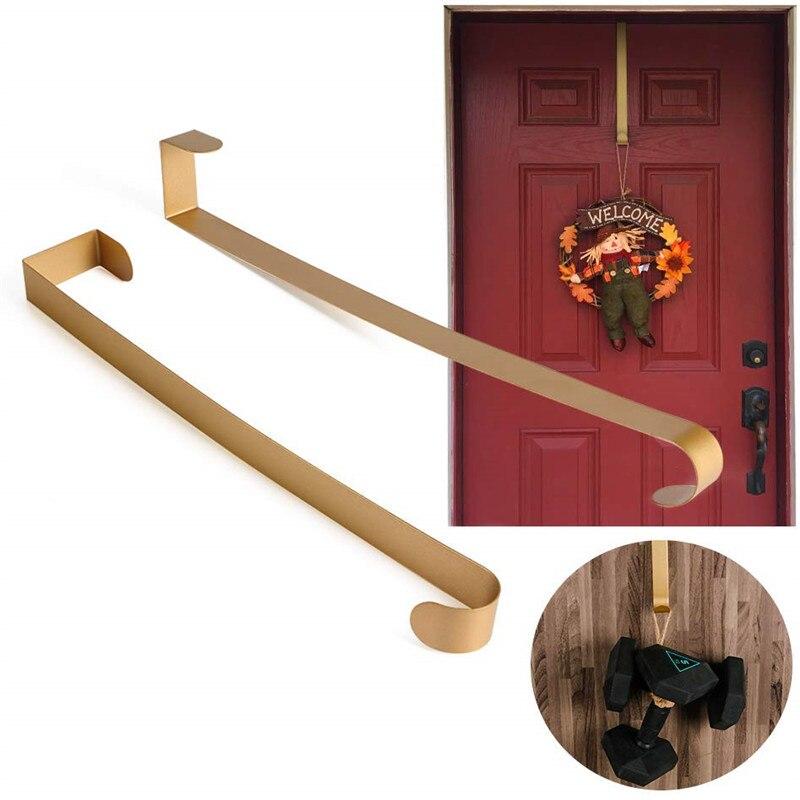 14 Inch Gold Metal Door Coat Hooks Wreath Hanger For Wedding & Christmas Wreath Home Kitchen Wall Door Heavy Duty (22 Lb Max)