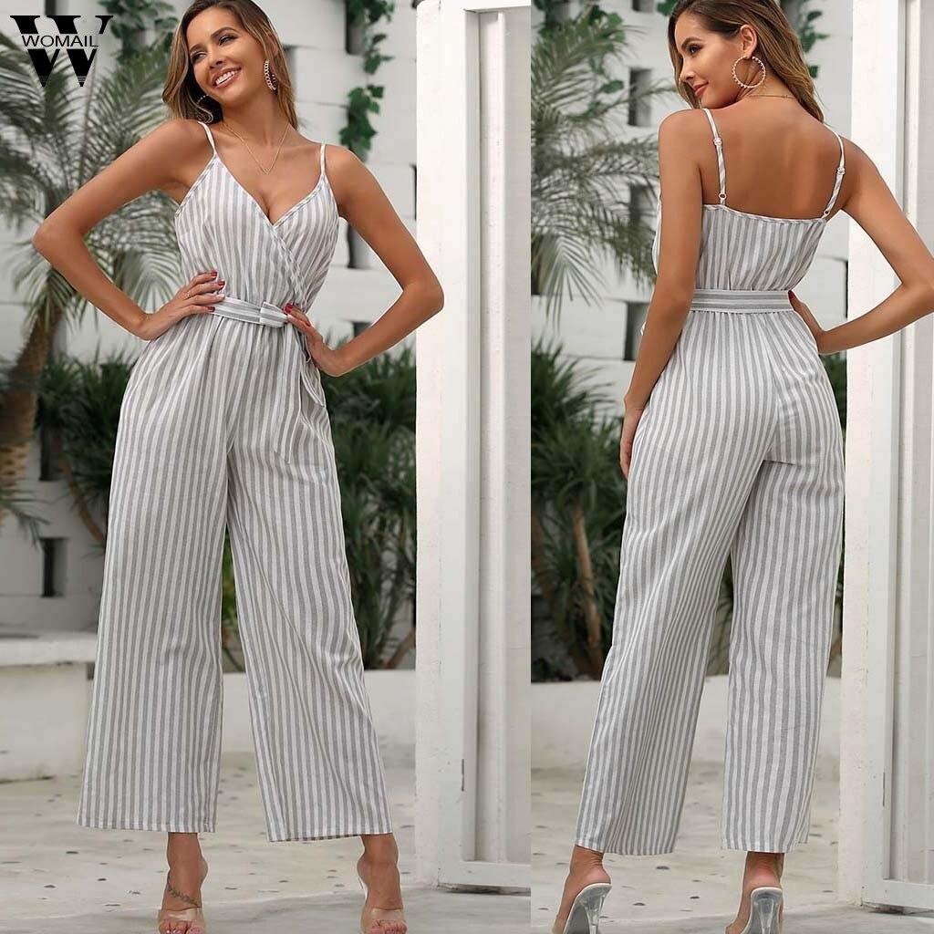 Womail Jumpsuit Women Elegant Summer Sleeveless Casual Stripe V-Neck Belt Slim  Lace Up Wide Leg Long Jumpsuit Trousers Holiday