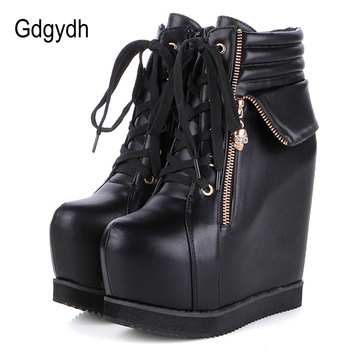 Gdgydh Spring Autumn Women Shoes Round Toe Wedges High Heels Ankle Boots Thick Platform Metal Skull Fashion Ladies Short Boots gdgydh spring luxury shoes women boots designer thick heel platform female ankle boots sexy buckle comfortable round toe boots