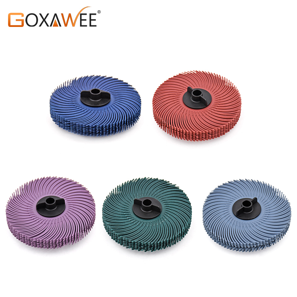 GOXAWEE 10pcs 3M Radial Bristle Brush Wheels Discs Abrasive Tools Polishing Wheel Grinder Brushes For Polishing Motor Machine