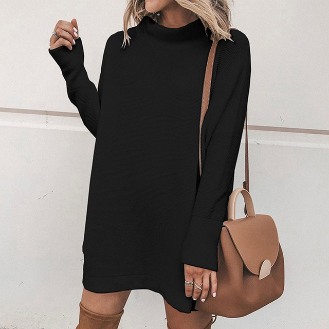 2020 Autumn Sweatshirt Dress Women Warm Winter Dress Women Long Sleeve Casual Loose Dress Ladies Female Vestidos Black 4