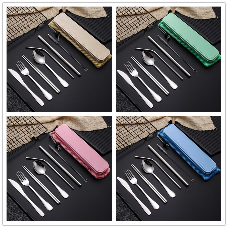 9-Piece Stainless Steel Flatware Cutlery Set Straw Set With Storage Box and Bags Knives Fork Spoon Chopsticks Travel Dinnerware