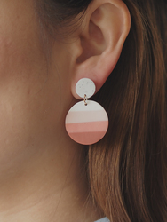 Women's Fashion Polymer Clay Round Small Cute handmade Earrings Trendy color gradient Pendants Ring Jewelry For Women Layered