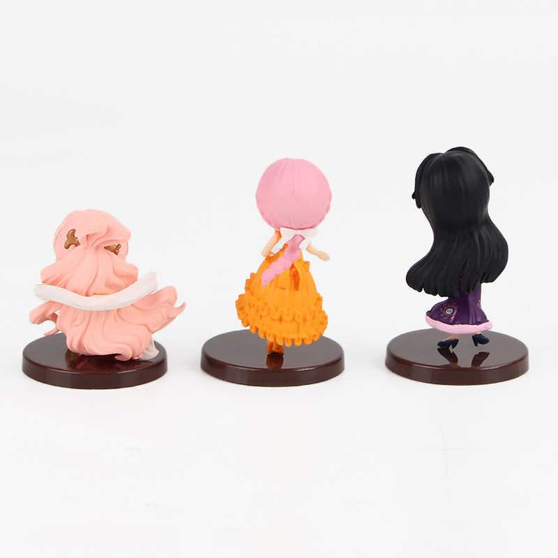 3 pçs/lote One Piece Figura Brinquedos Q Posket Princesa Rebecca Boa Hancock Shirahoshi Sereia Rainha Brinquedos Modelo