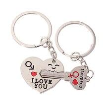 1 set/bolsa pareja te amo carta clave cadena llavero de corazón plateado amantes amor clave Cadena de recuerdo regalos del Día de San Valentín 2021