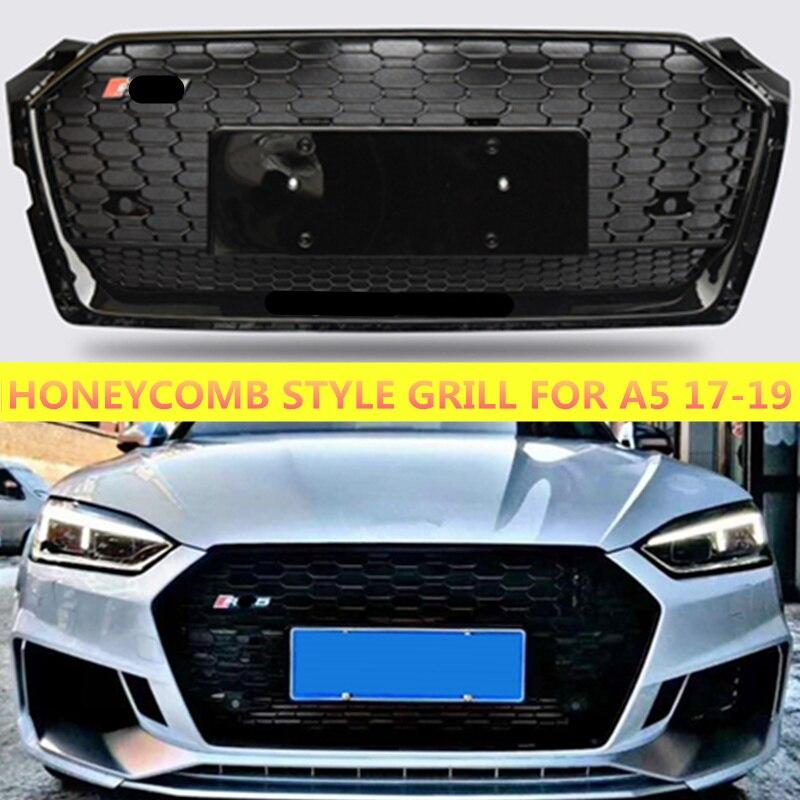 Estilo ABS Grill Para Audi A5 RS5 S5 Preto/Chrome Frame Racing Amortecedor Dianteiro Grille Sport Edition 2017 2018 2019