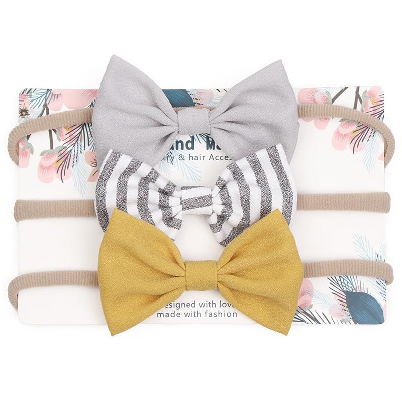 3pcs/lot Baby Headband Cute Bow for Girl Nylon Head Bands Turban Newborn Headbands Hairbands for Kids Baby Hair Accessories