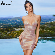 Aimsnug Sexy Solid Female The Dress Backless Spaghetti Strap Pleated Hip 2019 Summer Party Elegant Holiday Womens Mini