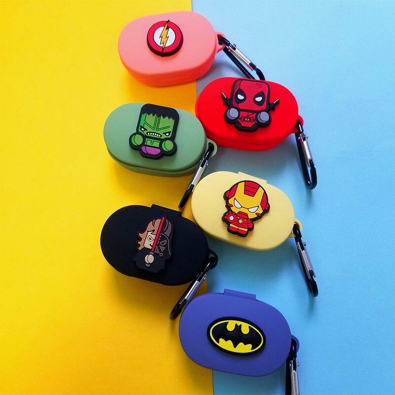 Cute Cartoon Superheros Bluetooth Earphone Case Protective Cover Skin Accessories  For Xiaomi Redmi AirDots  Cases Charging Box