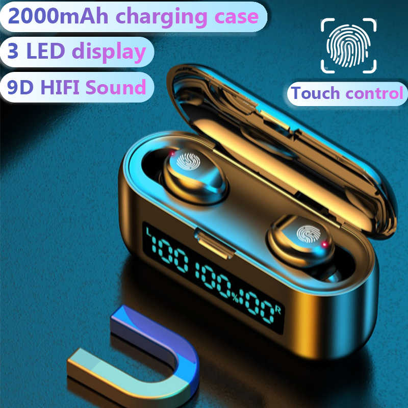 Wireless Headphone Bluetooth Earphone dengan 3 LED Display 2000M Ah Pengisian Kotak Olahraga Tahan Air Speaker Mini Touch Kontrol Headset