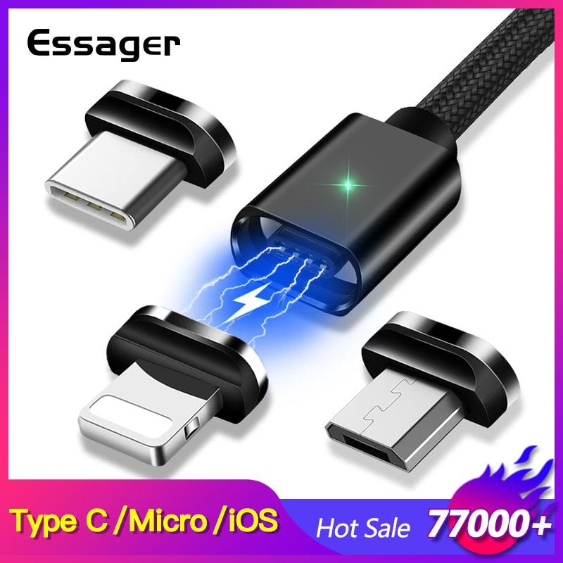 Cable Micro USB magnético esmager para iPhone Samsung Cable de datos de carga rápida Cable de imán cargador USB tipo C 3m Cable de teléfono móvil