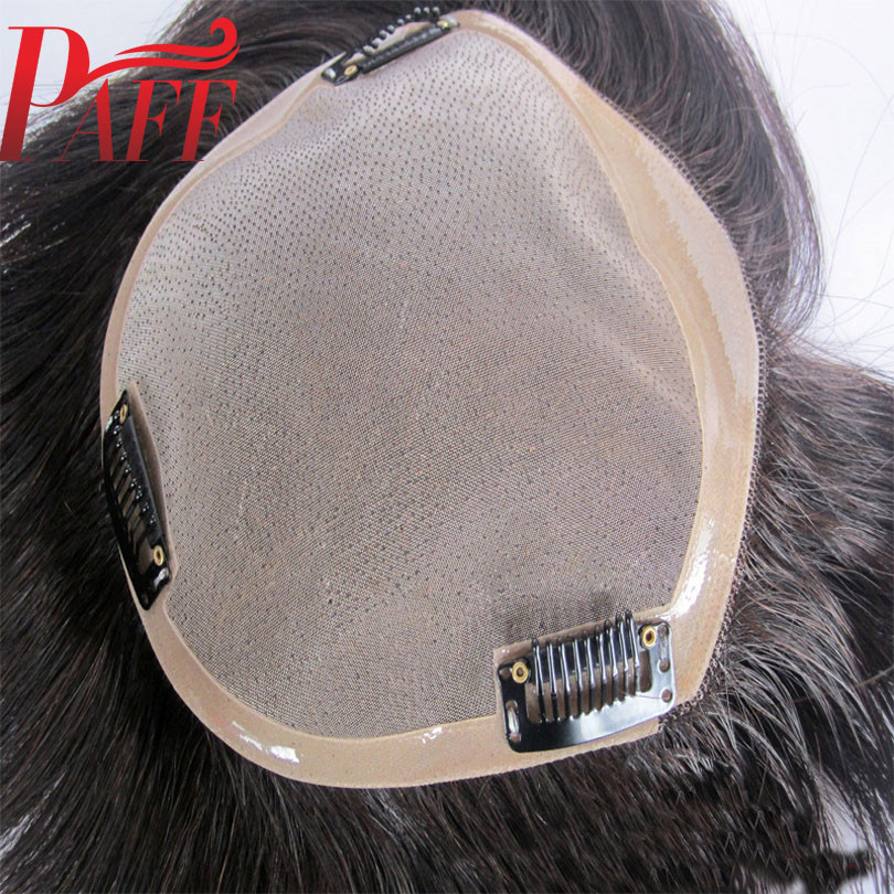 PAFF Brazilian Human Hair Toupee For Men Lace With NPU Human Hair Toupee Replacement System Natural Straight with Clips