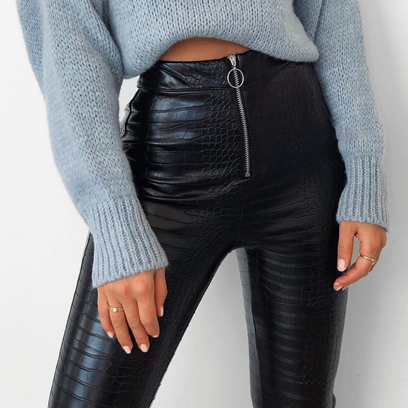 H3a16ecaa77ba4314943860c31c1fa8cdV - InstaHot Elegant High Waist Faux Leather Pants Women Pencil Skinny Pants Office Ladies Trousers Casual Slim Black Capris
