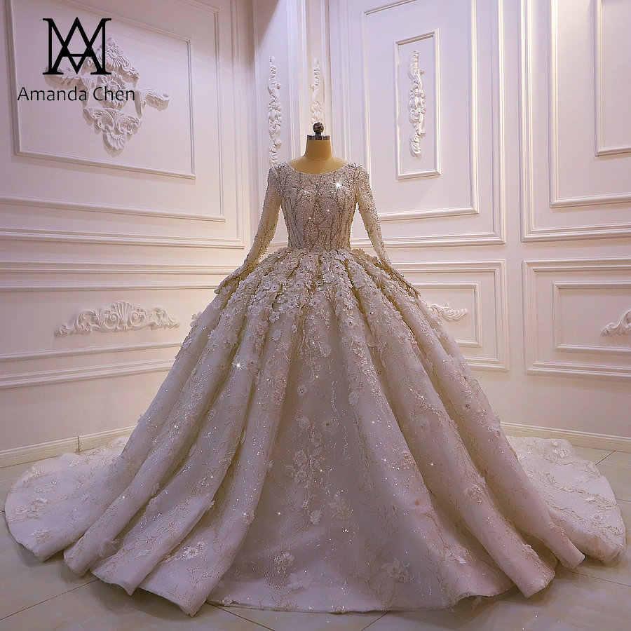 abito da sposa langarm spitze 3d blumen muslimischen hochzeit kleid