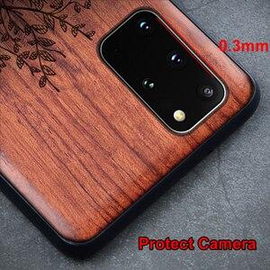 Image 4 - Masif ahşap oyma koruyucu kapak Samsung Galaxy S20 Ultra S10 artı not 20 Ultra 10 artı 5G durumda kabartmalı ahşap Funda