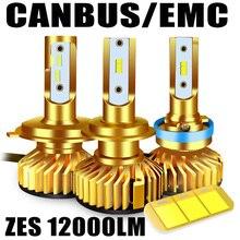 Luz LED Canbus para faro delantero de coche, bombilla Led ZES de 12000LM, 72W, con Chip de 12V, H7, H1, H3, HB3, 9005, hb4, H11, H27, 9006