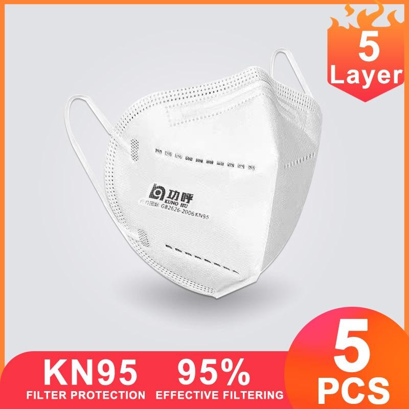 5 Pcs KN95 Face Masks Masque FFP2 Face Mouth Mask N95 Health Mascarillas Masker N-95 Ruska Na Tvar Maszk Maske Ffp3 Kf94