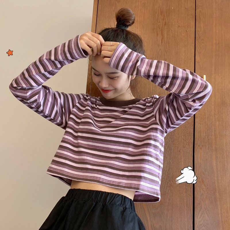 Long Sleeve Crop Top T Shirt Women Striped Shirt Korean Style Loose Tops Ropa Mujer Kawaii Fall Clothes Plus Size Student 2019