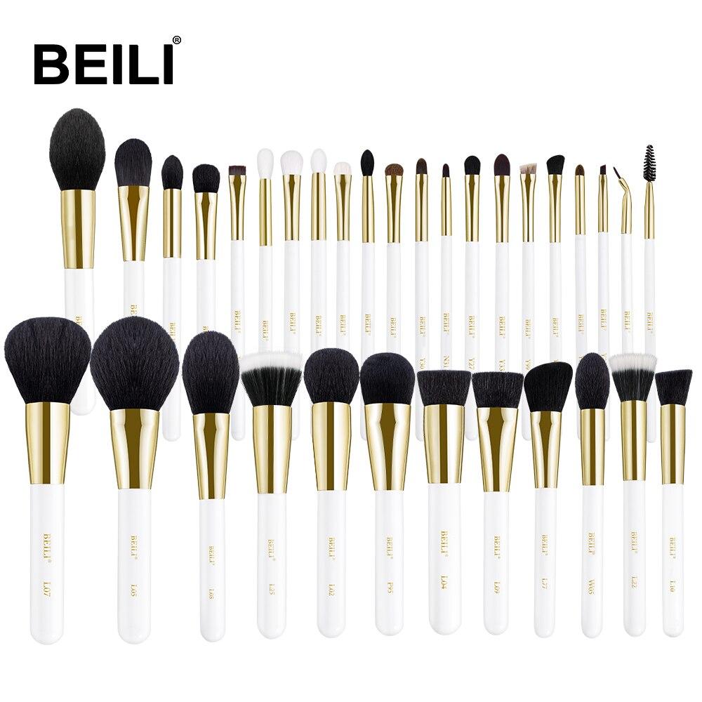 Set de pinceles de maquillaje blanco de lujo de BEILI, base de polvo de pelo de pony Cabra, sombra de ojos, brochas de maquillaje