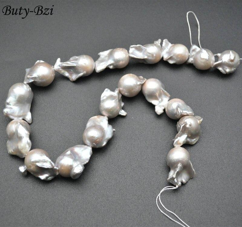 Очень высокое качество серый серебряный цвет пресной воды жемчужные бусины в стиле барокко Fit ожерелье ювелирных изделий 1 прядь