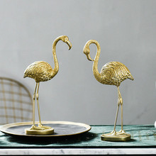 Nordic Golden Flamingo Figurines Sculpture Living Room Wine Cabinet Luxury Crafts  Ornaments Modern Home Decoration Accessories nordic style hourglass timer decorative ornaments tv cabinet wine cabinet desk creative home accessories gifts crafts