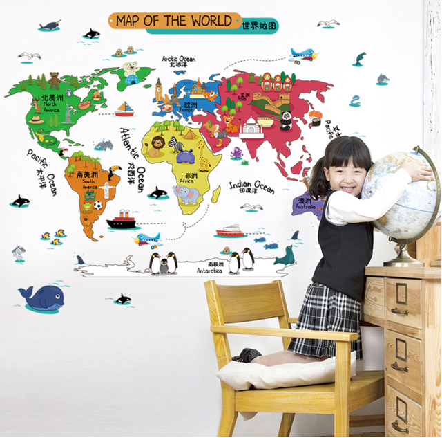 11 Kinds Large World Map Wall Stickers Cartoon Map Home Decor for Kids Room Vinyl DIY