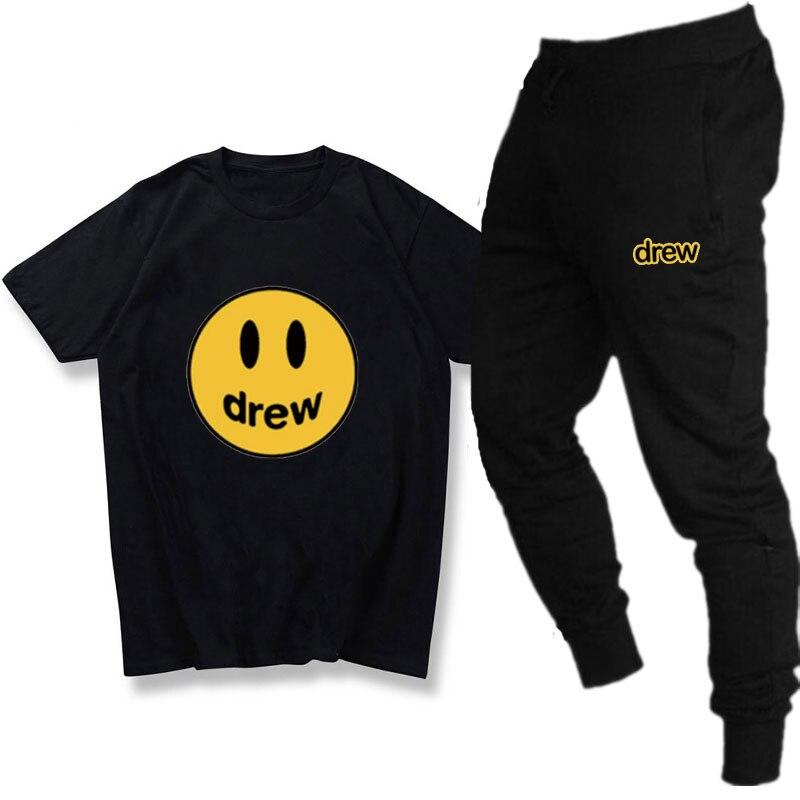 Summer Streetwear Men 2 Piece Set Justin Bieber Drew House Smile Face T Shirt Sets Casual Tracksuit Mens Cotton Sweatpants Suit