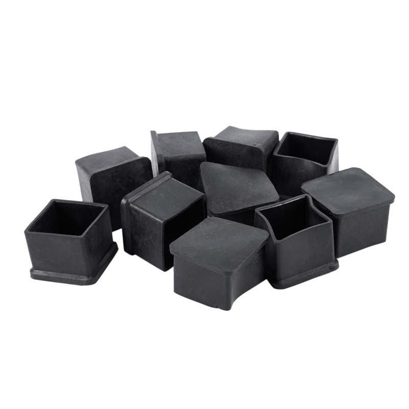 ABFU-10pcs 30x30mm Square Rubber Desk Chair Leg Foot Cover Holder Protector Black