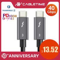 CABLETIME PD 100W Kabel Thunderbolt 3 kabel Zertifiziert 40Gbps Typ C zu C USB Schnelle USB C für macbook Pro Quick Charge C024