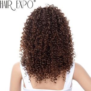 Image 3 - Парики для чернокожих женщин, короткий кудрявый парик 14 дюймов, афро американские парики для чернокожих женщин, коричневые смешанные светлые синтетические термостойкие парики с челкой