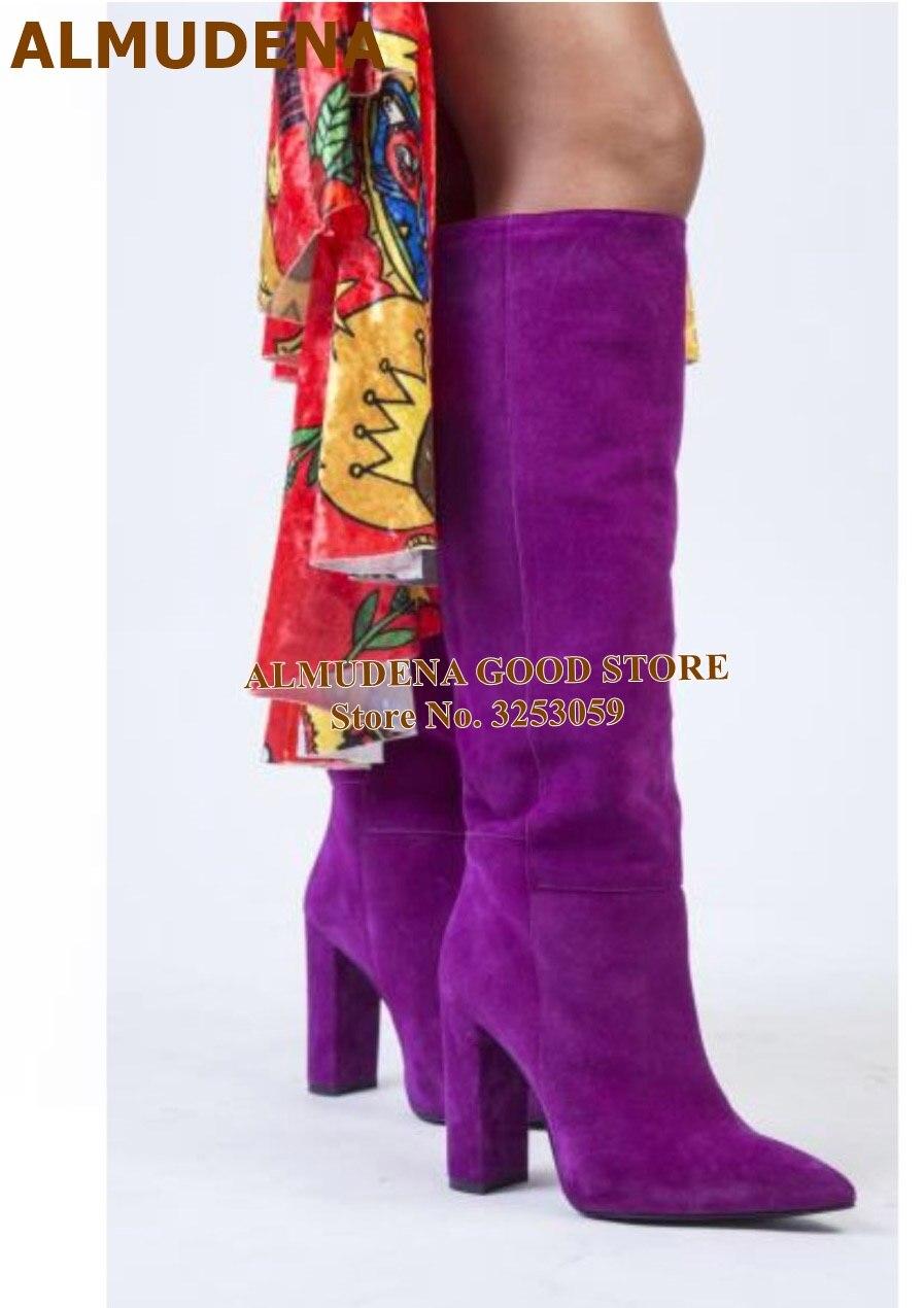 Purple Suede High Heel Boots