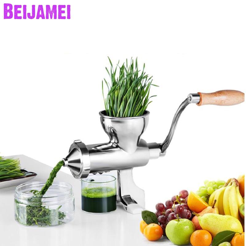 BEIJAMEI Stainless Steel Manual Wheatgrass Juicer Fruit Wheat Grass Vegetable Orange Juice Press Extractor Auger Slow Squeezer