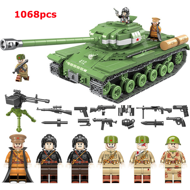 1068PCS Soviet Russia IS-2M Heavy Tank Building Blocks Legoingly WW2 Military Tank Army Soldier Weapon Bricks Toys For Children