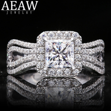 1.0carat 5.5mm Princess Cut DF Color VVS1 Excellent Cut Moissanite Engagement Halo Ring Real 18k White Gold for Lady Gift transgems 14k white gold 1 4ctw 0 7ct 5mm f color princess cut moissanite engagement ring with 2 5mm princess cut side stone
