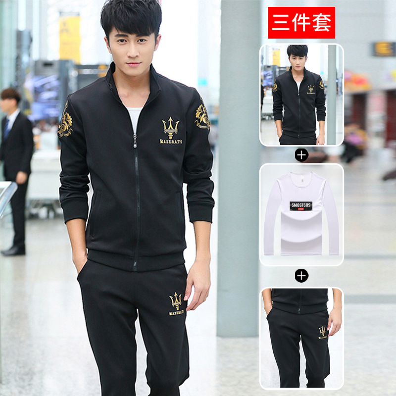 2019 Autumn And Winter New Style Hoodie Sports Casual Jacket Suits Men's Stand Collar Cardigan Three-piece Set Men'S Wear