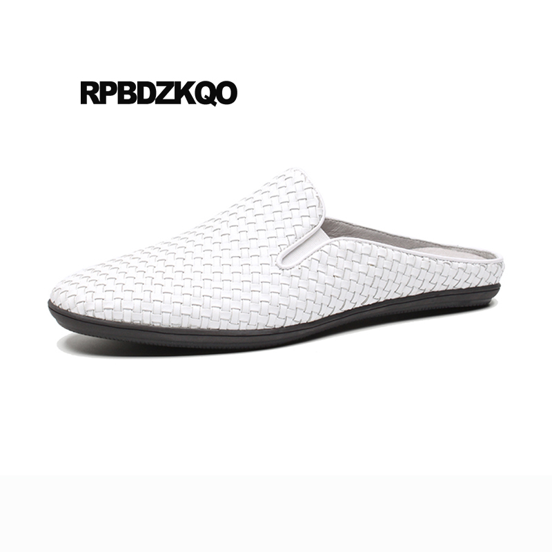 Genuine Leather White Luxury Slippers Closed Toe Summer Mules Slides Breathable Designer Shoes Men High Quality Sandals Woven