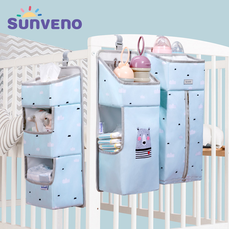 Sunveno Baby Storage Organizer Crib Hanging Storage Bag Caddy Organizer For Baby Essentials Bedding Set Diaper Storage Bag