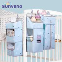 Sunveno organizador de almacenamiento de bebé cuna colgante bolsa de almacenamiento organizador de Caddy para artículos esenciales de bebé juego de cama bolsa de almacenamiento de pañales