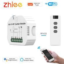 ZHIEE WiFi RF Smart Curtain Blinds Module Switch,Roller Shutter Motor Tuya Wireless Remote Control,Voice Control Schedule Timer