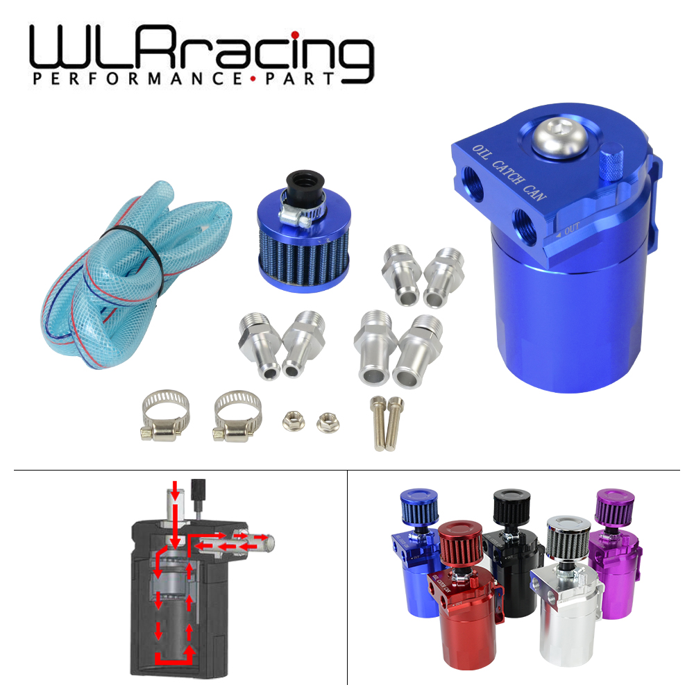 WLR - Baffled Aluminum Oil Catch Can Reservoir Tank / Oil Tank With Filter Universal 9mm / 13mm / 15mm fittings WLR-TK64