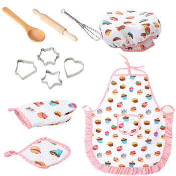 Kids Cooking Baking Set Kitchen Girls Toys Role Play Children Costume Pretend Role Play Baking Cooker Play Set Friends Game