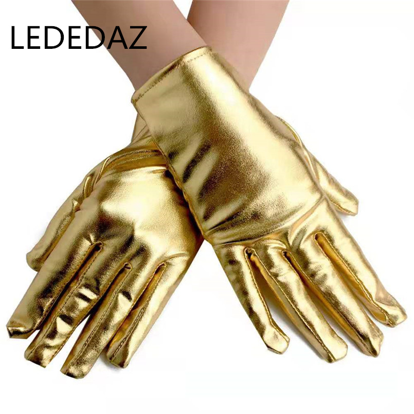 2019 Fashion Ladies Leather Gloves Short Party Gloves Full Finger Unisex Wrist Cycling Gloves Luxury Gold /Silver Gothic Gloves