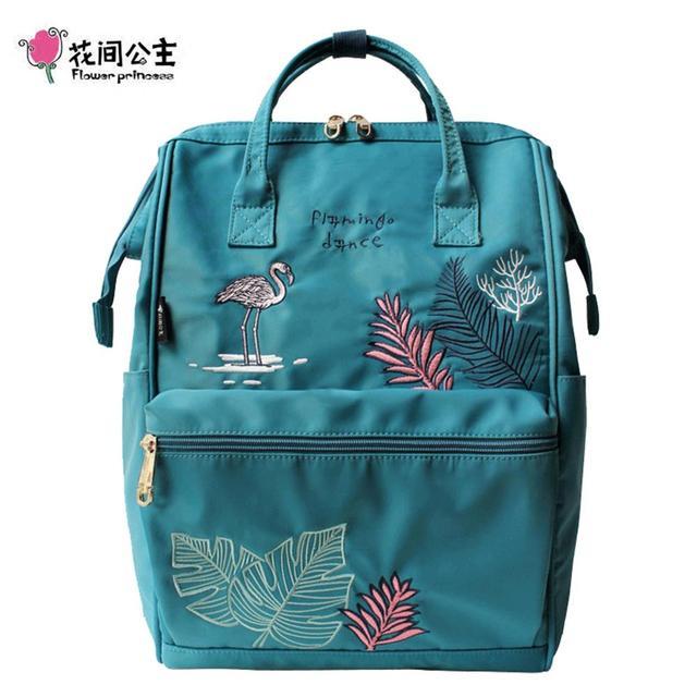 פרח נסיכת פלמינגו נשים לנערות תרמילי ניילון רקמה נשי תרמיל גבירותיי נסיעות bagpack