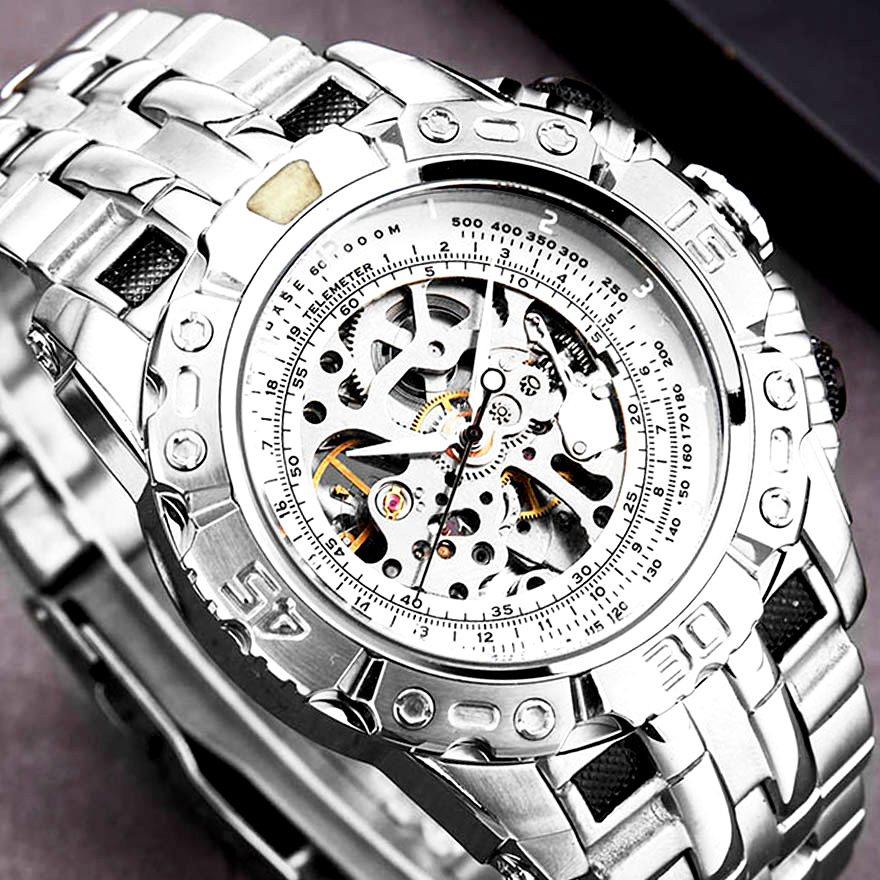 Luxury Silver Gold Automatic Mechanical Watch For Men Full Steel Skeleton Wristwatch Clock Over-sized Big Dial Relogio Masculino