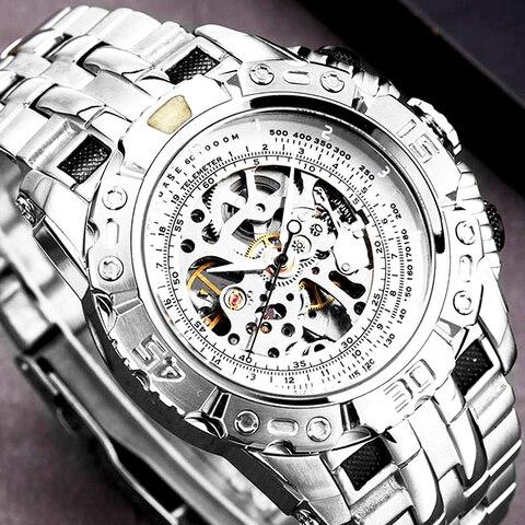 Mecânico para Homem Esqueleto de Aço Relógio de Pulso Luxo Prata Ouro Automático Relógio Completo Grande Tamanho Dial Masculino
