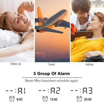 Electric LED alarm clock with phone wireless charger Desktop digital thermometer clock HD mirror clock with date 12/24 h switch 4